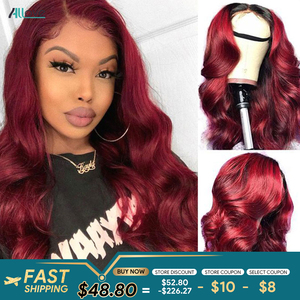 Allove 99J Lace Front Wig Burgundy Body Wave Human Hair Wig Ombre Lace Frontal Wig 1B 99J Body Wave Lace Closure Wigs for Women