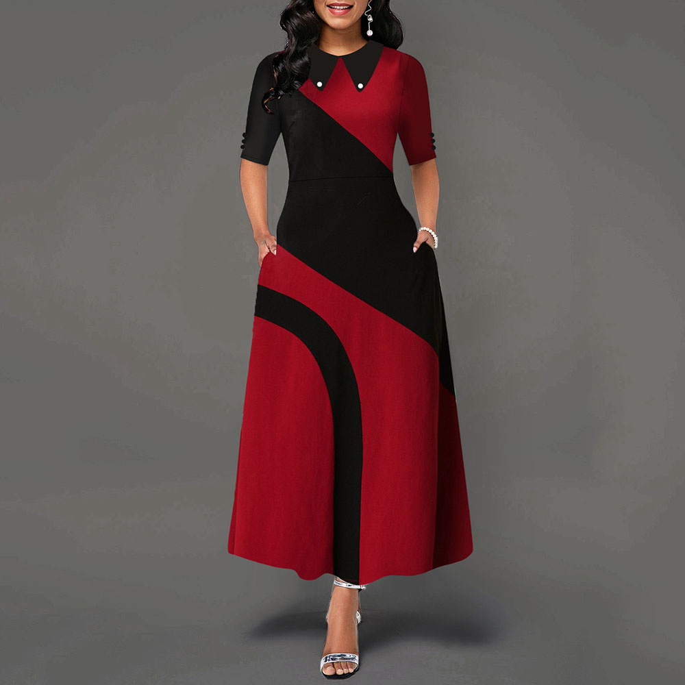 A Line Color Block Office Long Dress Evening Party Prom Elegant Women Half Sleeve African Ladies Autumn Maxi Dresses Female Fall