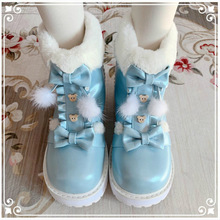 Women Shoes Boots Loli Girl Winter Cute Kawaii Vintage Warm Round Bowknot Head-Plus Cashmere