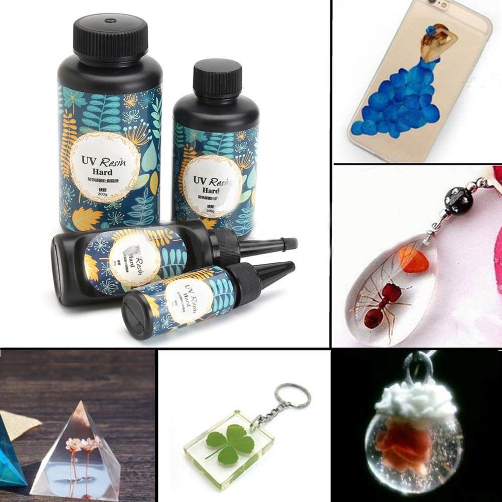 10/15/25/60/100/200g UV Resin Hard Glue Ultraviolet Transparent LED DIY Tools For Fashion Elegant Jewelry Vintage UV Resin Glue