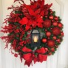 19.65in Merry Christmas Wreath New Year 2020 Party Decorations Poinsettia Pine Crown Door Wall Wreath Christmas Decoration Home