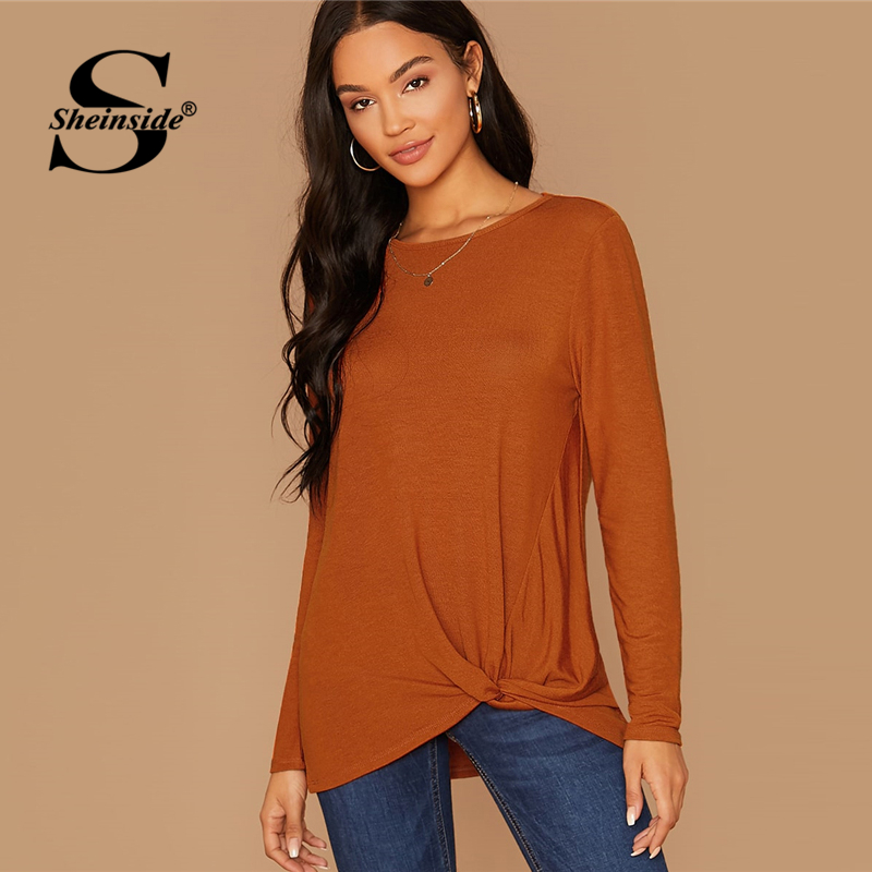 Sheinside Casual Brown Front Twist Detail T-shirt Women 2019 Autumn Solid Minimalist Tee Tops Ladies Stretchy Longline Top SHEINSIDE Women Women's Sheinside Collection