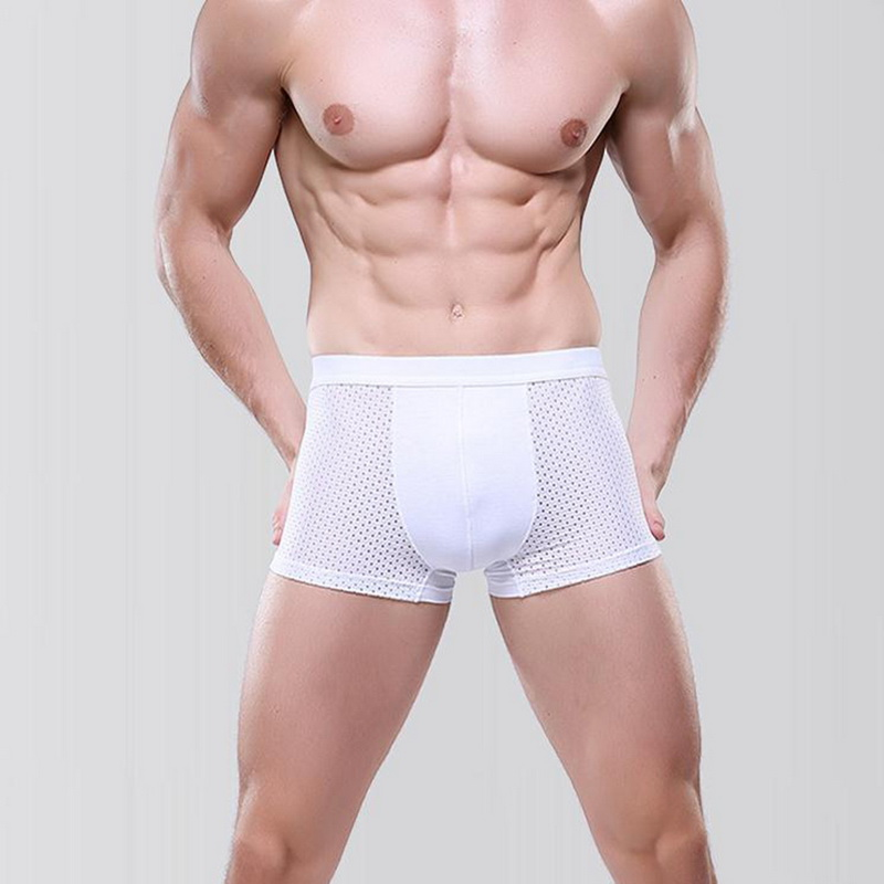 DIHOPE Breathable Quick Dry Flat Underwear Men Mesh Hollow Plus Size Solid Boxer Male Elastic Waist Underpants Underwear