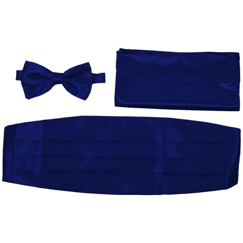 Satin Tuxedo Cummerbund+Bow Tie +Hanky Set Prom Wedding Deep BLUE
