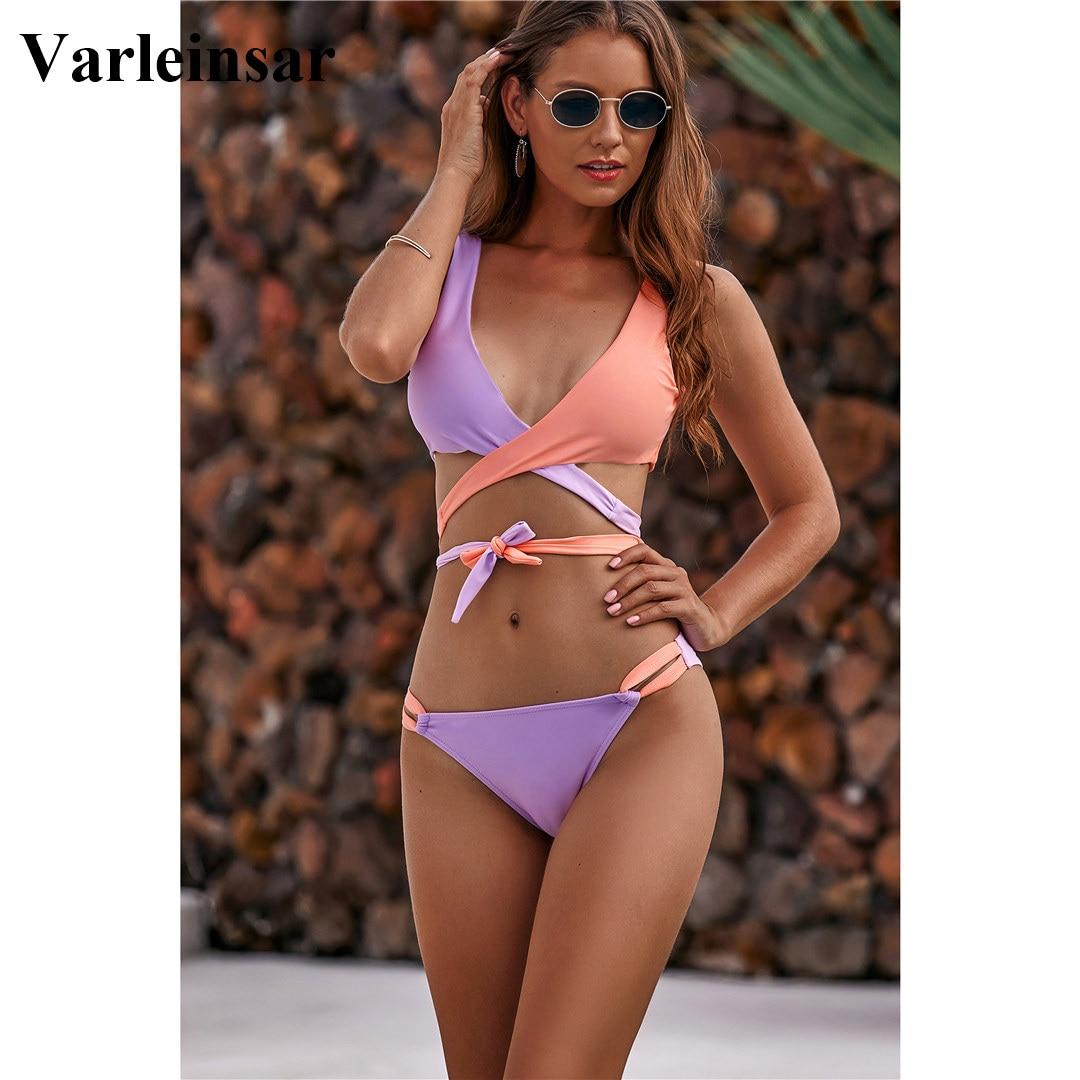 NEW 2020 Wrap Around Bikini Brazilian Swimsuit Female Swimwear Women Two-piece Bikini Set Bandage Bather Bathing Suit Swim V1857