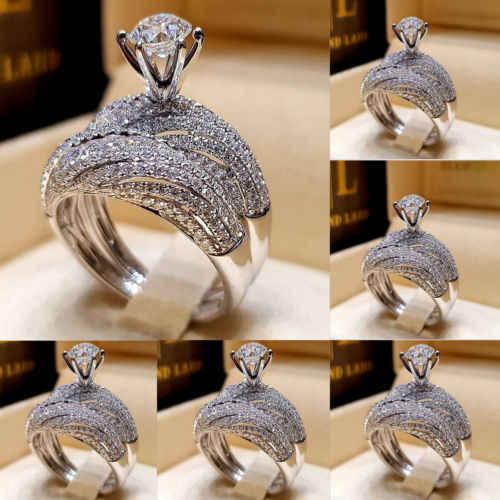 בציר נשים 925 כסף לבן ספיר אבן המזל חתונה לבן יהלומי טבעות תכשיטי גודל 5-12