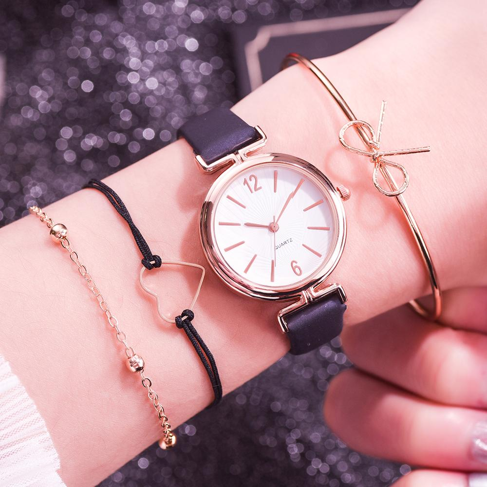 4pcs Set New Fashion Simple Women Watches Ladies Casual Leather Quartz Wristwatch Female Clock Zegarek Damski Relogio Feminino