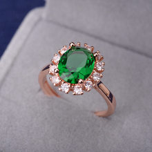 Rose Gold Natural Emerald Ring For Women Sapphire Red Ruby Gemstone Finger Rings 925 Sterling Silver Diamond Ring Fine Jewelry(China)