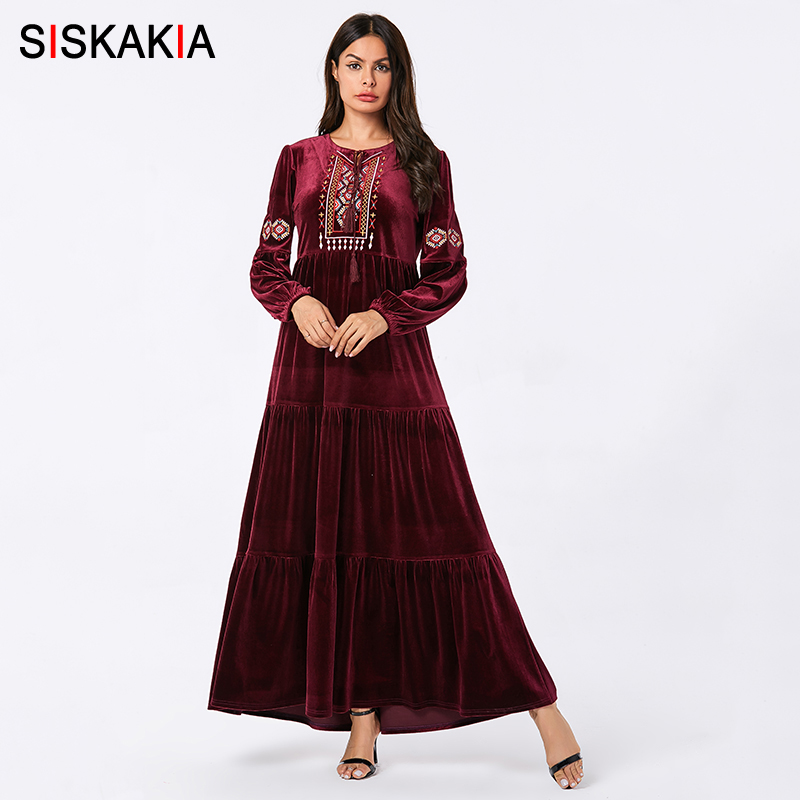 Siskakia Velvet Swing Long Dress Chic Ethnic Embroidery Muslim Dresses Long Sleeve Autumn 2019 Arabian Wears Navy Blue Plus Size