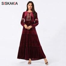Velvet Swing Long Dress Ethnic Embroidery Muslim Dresses Long Sleeve Autumn 2019