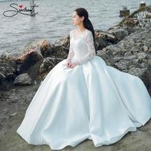 SERMENT Elegant Lace Long Sleeve Satin Wedding Dress Floor-Length Up  Plus Size Soft