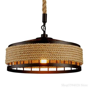 American hemp rope chandelier Industrial vintage pendant lamp dining room retro loft chandelier ceiling home decor