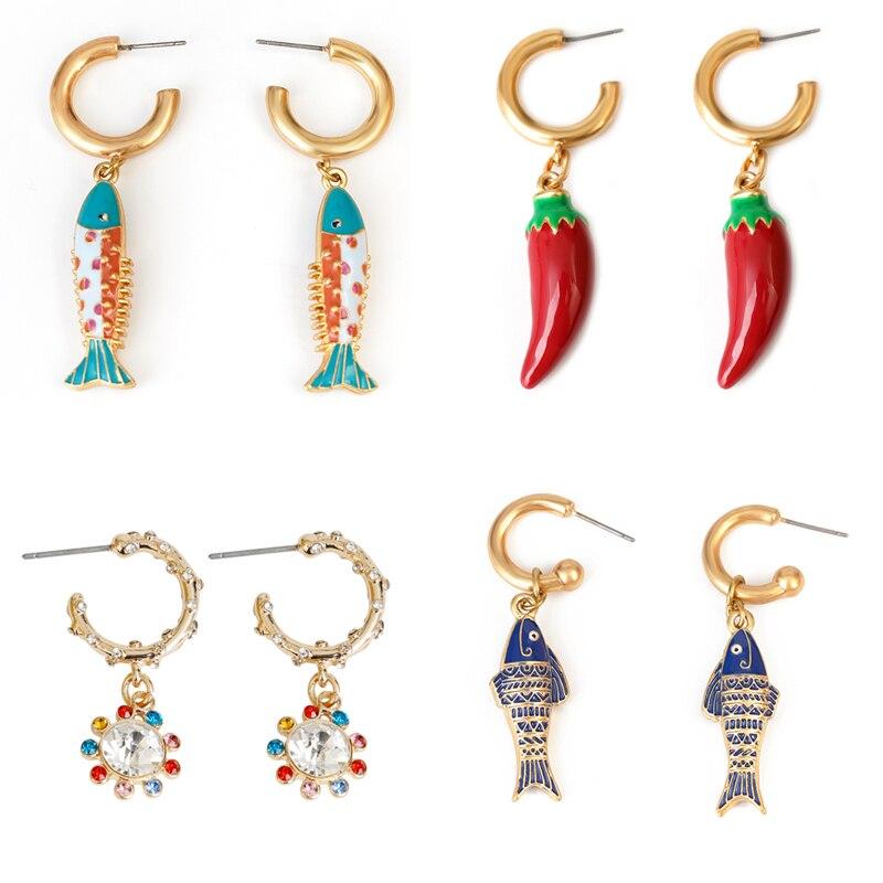 Duplo c peixe pingente brincos azul marinho 2021 pimenta vermelha brincos orelhas animais moda brincos para as mulheres 2021 brincos coloridos