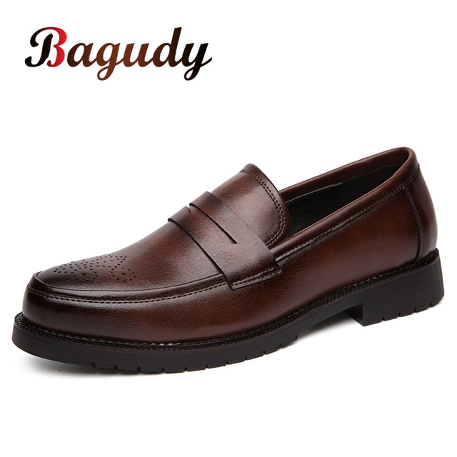 Retro Men Dress Shoes Brogue Style Party Leather Formal Shoes Wedding Shoes Men Flats Leather Oxfords Slip on Fashion Loafers 46