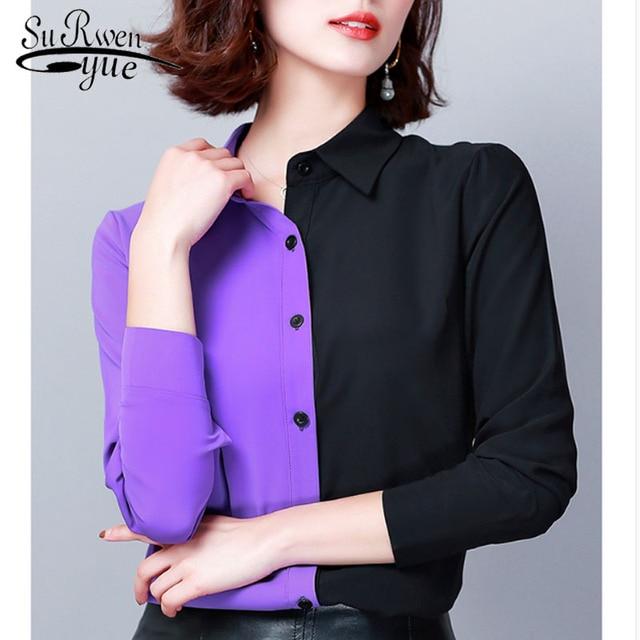 2019 Autumn Fashion Women Shirts Casual Spliced Women Clothing OL Plus Size Long Sleeve Leopard Women Blouses 6014 50 1