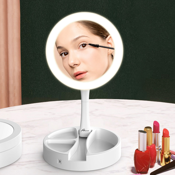 Makeup Mirror with Led Light Make Up Mirror with Lights Folding  Cosmetic Mirror 5X Magnifying Vanity Mirror folding makeup mirror with led light 5 times magnifying cosmetic mirror beauty ring light mirror photo fill light small mirrors