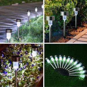 Image 5 - 10 unids/lote de lámpara Solar de jardín LED de acero inoxidable para decoración de jardín, energía Solar para exteriores, lámpara Solar de palo de bolardo impermeable