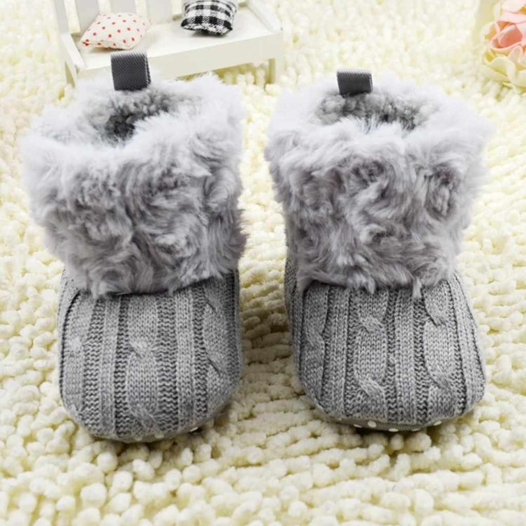 Bebé niña niño Botas de invierno suave cuna botas para la nieve de algodón de lana de Color sólido tejido grueso infantil Unisex niña Botas Niño 0-18m
