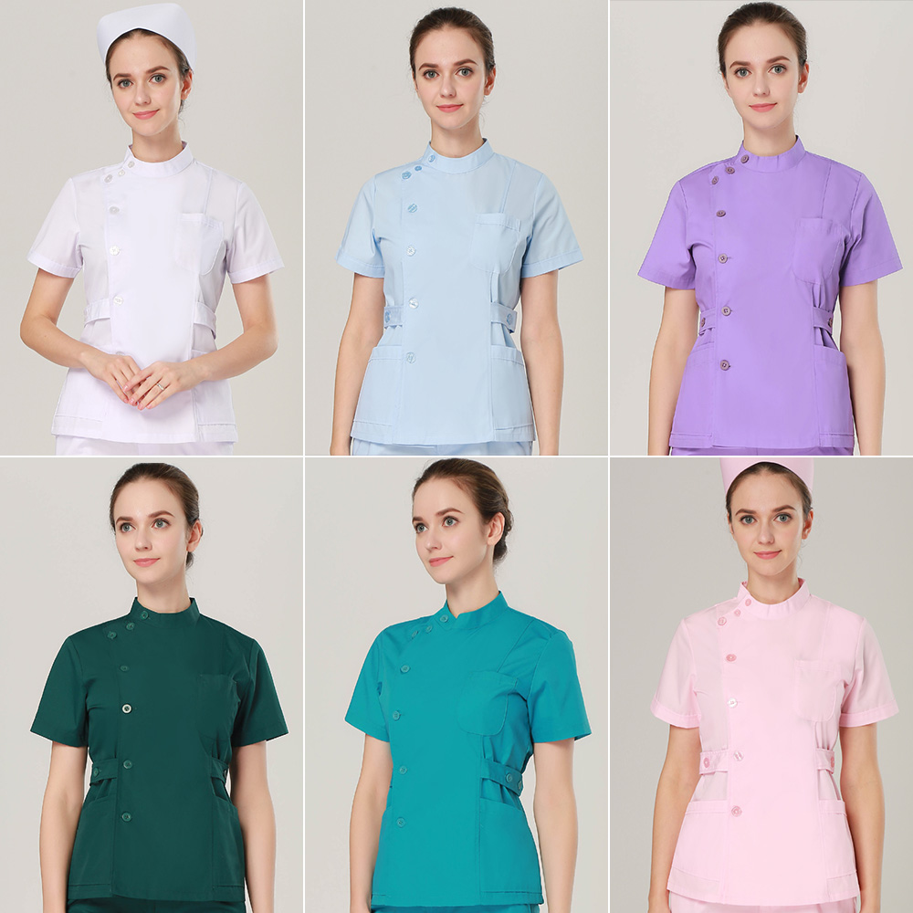 High Quality Female Medical Spa Uniforms Suits/tops Extend Side Waist Collar Adjustable Strap Opening Surgery Scrubs Tops+pants