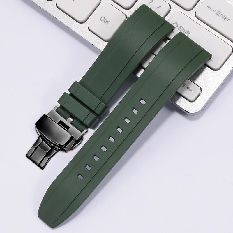 Фтор резиновый ремешок для часов 20 мм 22 мм 24 мм быстросъемный зеленый оранжевый ремешок для часов с стальной пряжкой для каждого бренда