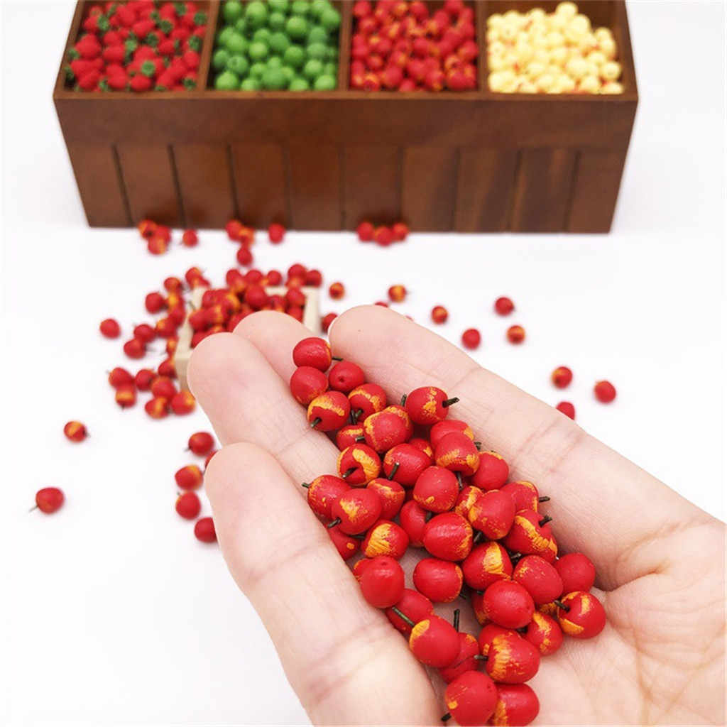 Kitchen Model Play Toys For Children 10Pcs 1:12 Dollhouse Miniature Fruit Red Apple Dining Realistic Toy Dollhouse Accessories