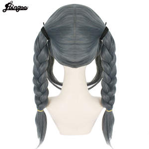 Image 5 - Ebingoo Cap+Danganronpa Dangan ronpa Peko Pekoyama Double Braided Dark Grey Synthetic Cosplay Wig for Halloween Costume Party