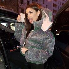 Женское пальто пузырь трендовая блестящая куртка женская зимняя