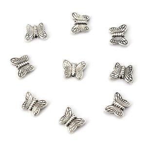 50 шт. 10,5x8,5 тибетские серебристые золотые бусины с бабочкой, металлические бусины для изготовления, поиск ювелирных изделий, аксессуары, опт...