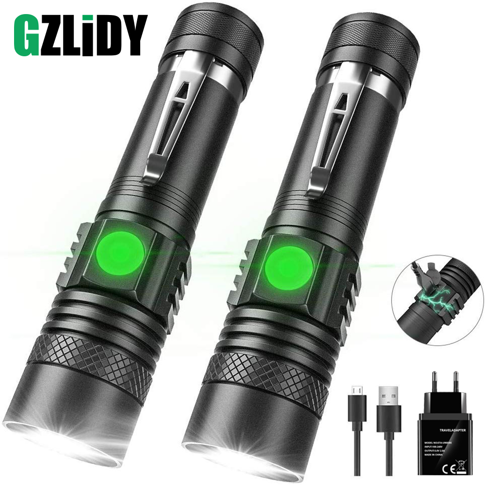 USB Rechargeable LED Flashlight Super Bright V6 Tactical Torch 4 Lighting Modes Zoomable Lamp Waterproof 18650 Camping  Lantern