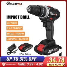 Impact-Drill Electric-Hammer-Drill Cordless MUSTOOL 1/2-Battery 25 48V with 3-In-1 3-Torque