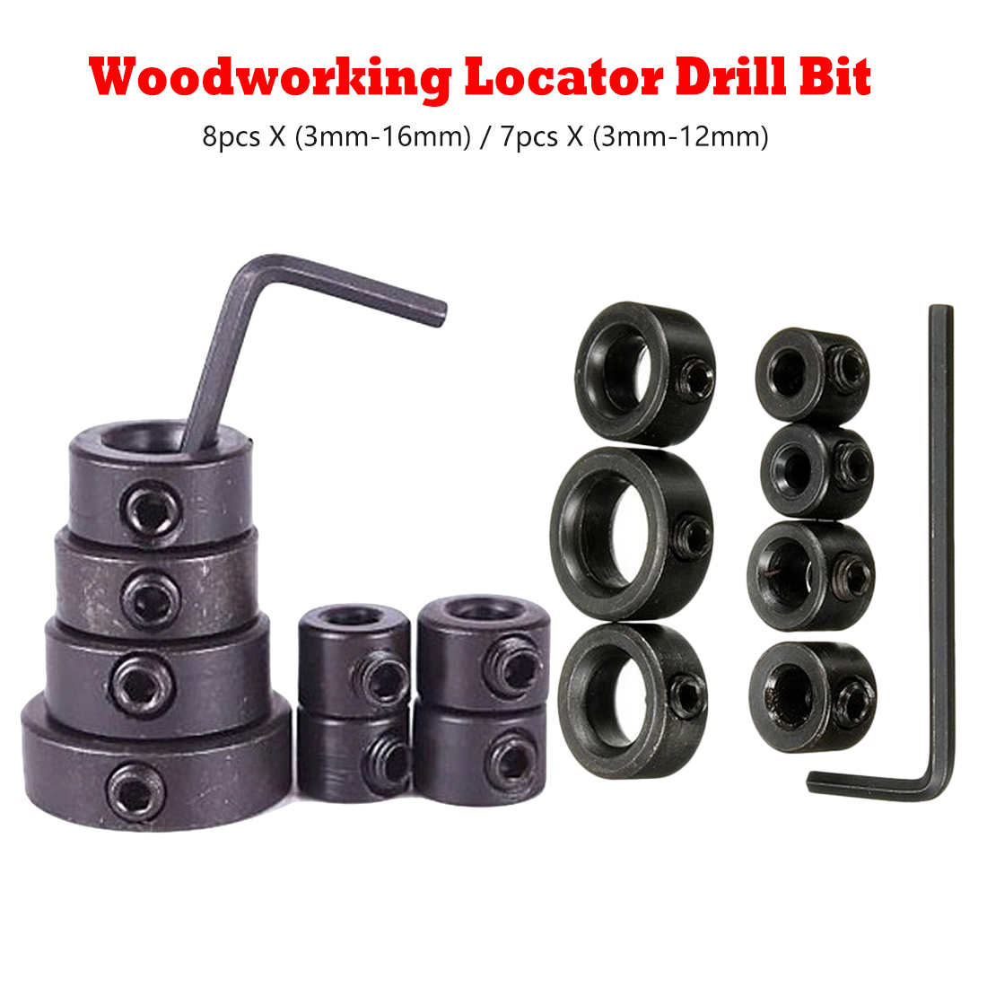 Drill Bit Tool Depth Stop Collar Ring Positioner Spacing Locator Woodworking Tool With Hex Wrench 8pc X 3mm-16mm/7pc X 3mm-12mm