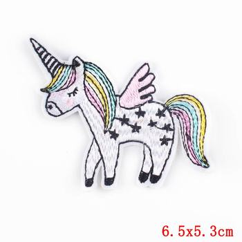 Rainbow Unicorn Hippies Patches Iron on Embroidery Applique For Clothing Cartoon Cute sticker T Shirt dress DIY Partch