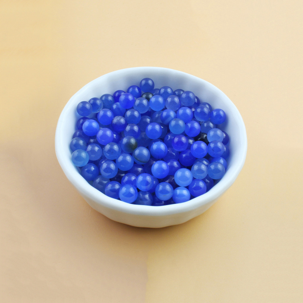 50pcs/Bag OD 6mm Terp Pearls Blue Natural Agate Ball For Quartz Banger Nail Glass Bongs 1