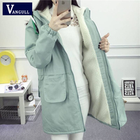 Vangull Women Winter Thicken Jacket Warm Cotton Hooded New Jacket Solid Female Clothing Autumn Fashion Casual Long Coat