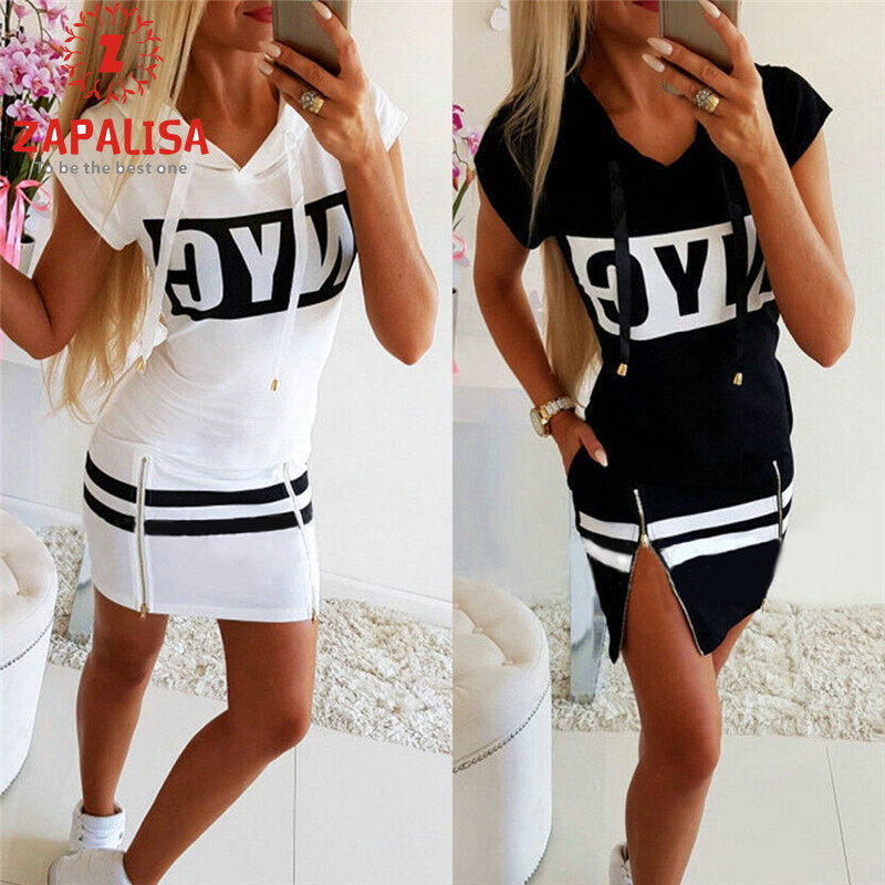 Fashion Women Summer Casual Loose Mini Dress Hooded Design Pockets Zipper Decor O-Neck Short Sleeve Letter Print Pullovers Dress