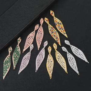 Image 3 - GODKI 2020 New Leaf Charms Earring For Women Wedding DUBAIStatement Earring for Women Gold Cubic Zircon Earrings Jewelry