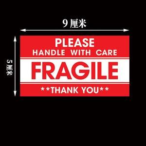 Image 5 - Kırılgan etiket 500 adet/grup kolu ile bakım kırılgan çıkartmalar 9cm X 5cm Express uyarı etiketi
