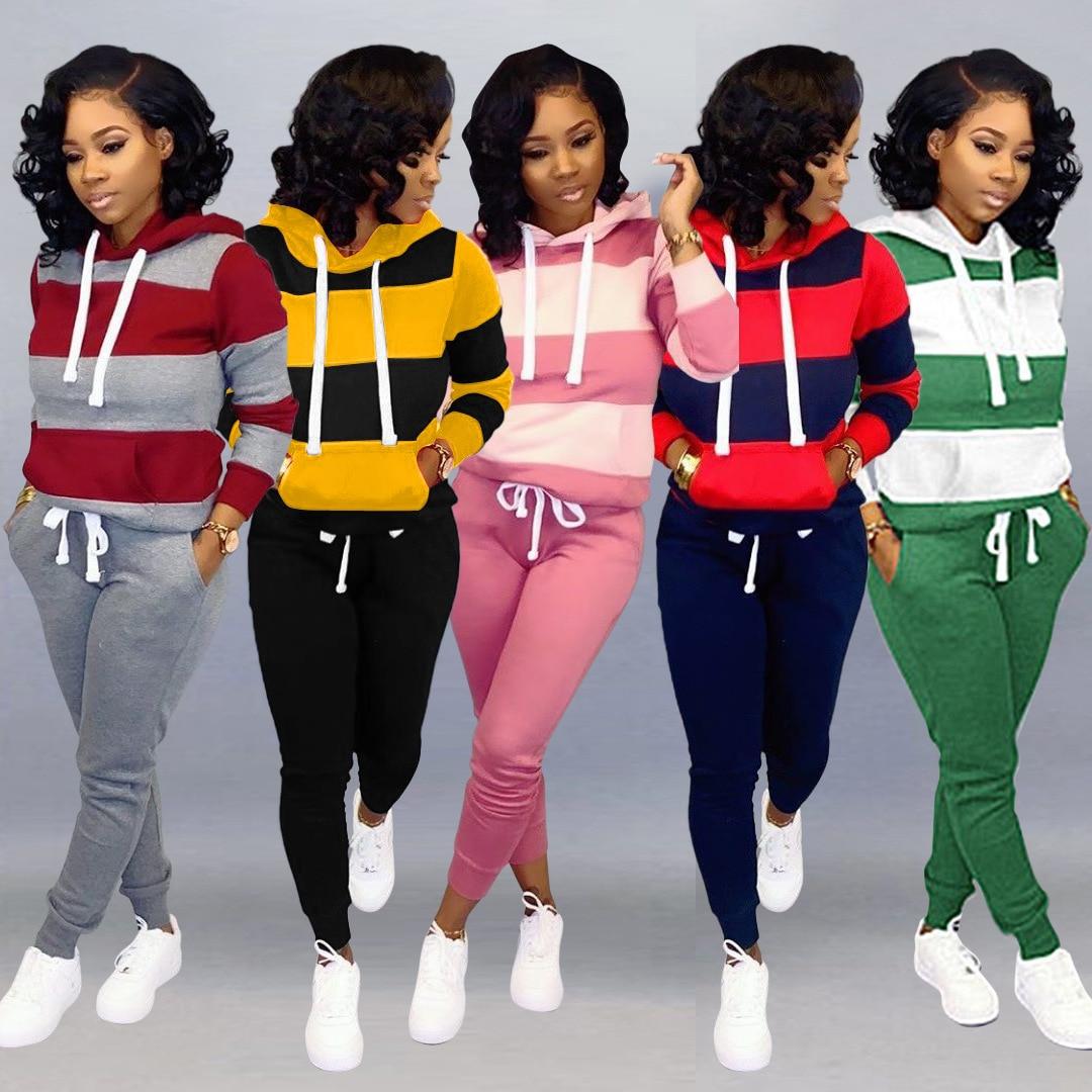 2019 Women Winter Women's Set Tracksuit Full Sleeve Hoodied Sweatshirt Pockets Pants Suit Two Piece Set Outfits Sweatsuit