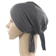 Muslim Women Girls Underscarf Hijab Bonnet Cap Headband Soft 100% Cotton with Belt Anti-Slip Wholesale(China)