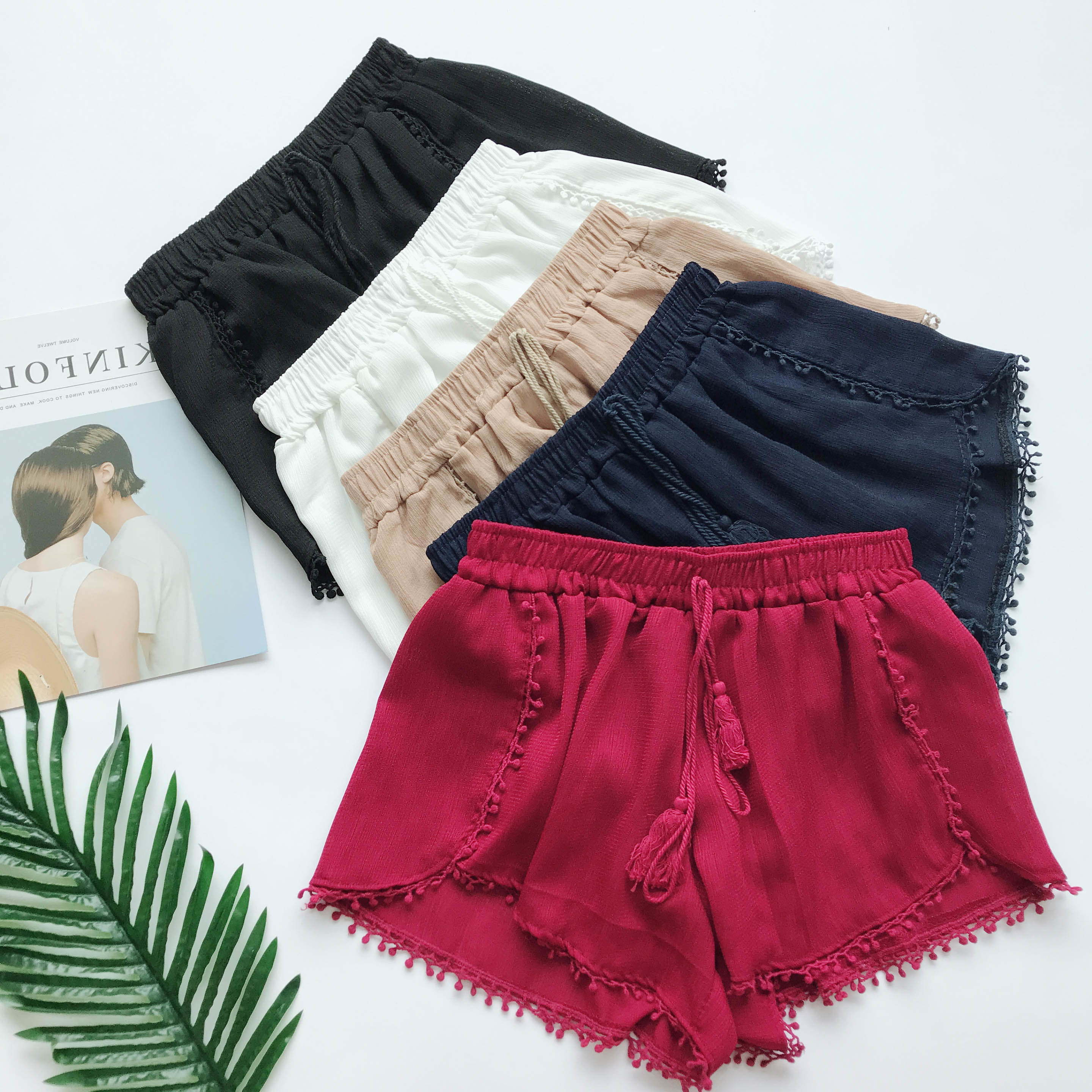 Summer Newest Style Fashion Vintage Elastic High Waist Female Chiffon Shorts Women Casual Shorts Boho Beach Trousers Girls Short