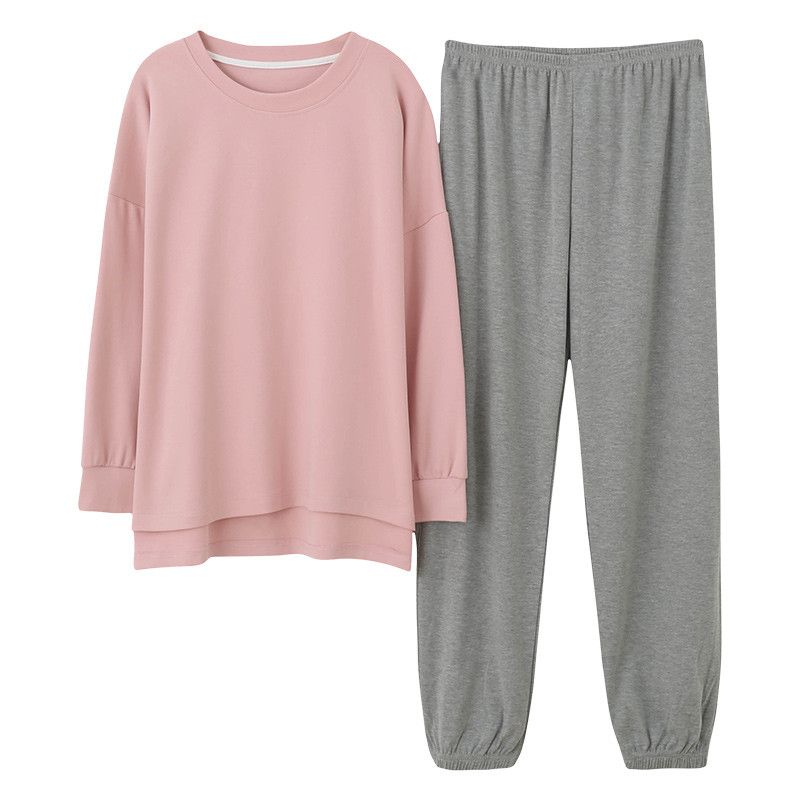 Minimalist Style Women's Sleepwear Loose Size Pink Top Grey Pants Women's Two Pieces Cotton Pjs Student Girls Home Clothing Suit-in Pajama Sets from Underwear & Sleepwears on AliExpress