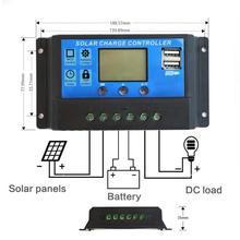 10 A/20 A/30 A 12 В/24 В автоматический контроллер заряда Солнечный ШИМ 5 в солнечная панель контроллер батареи с двойным USB ЖК-экраном