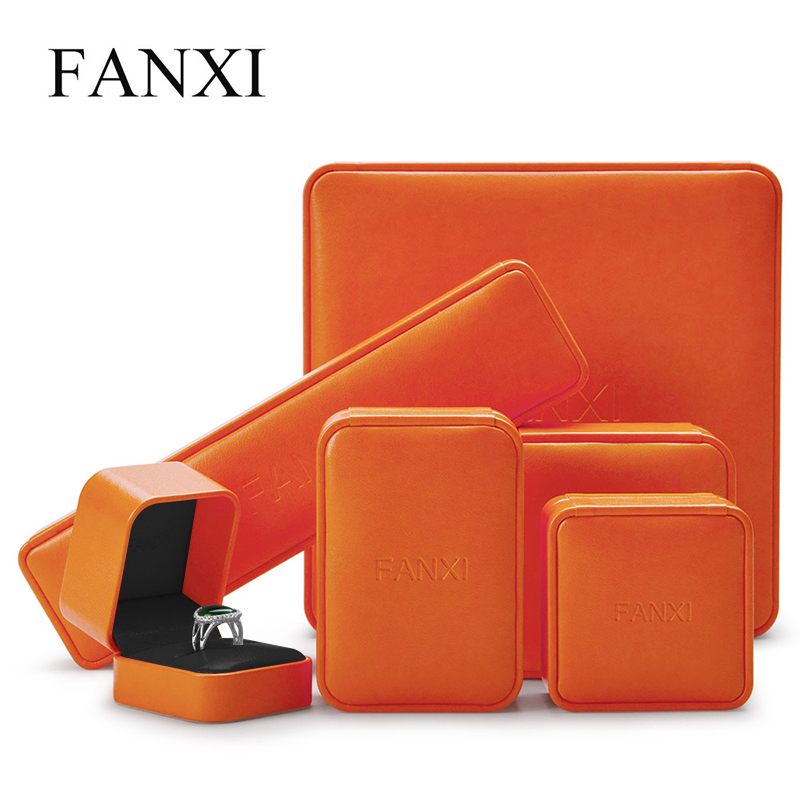 Oirlv Jewelry Box Wedding Ring Earring Necklace Box Orange Leather Pendant Organizer Gift Box
