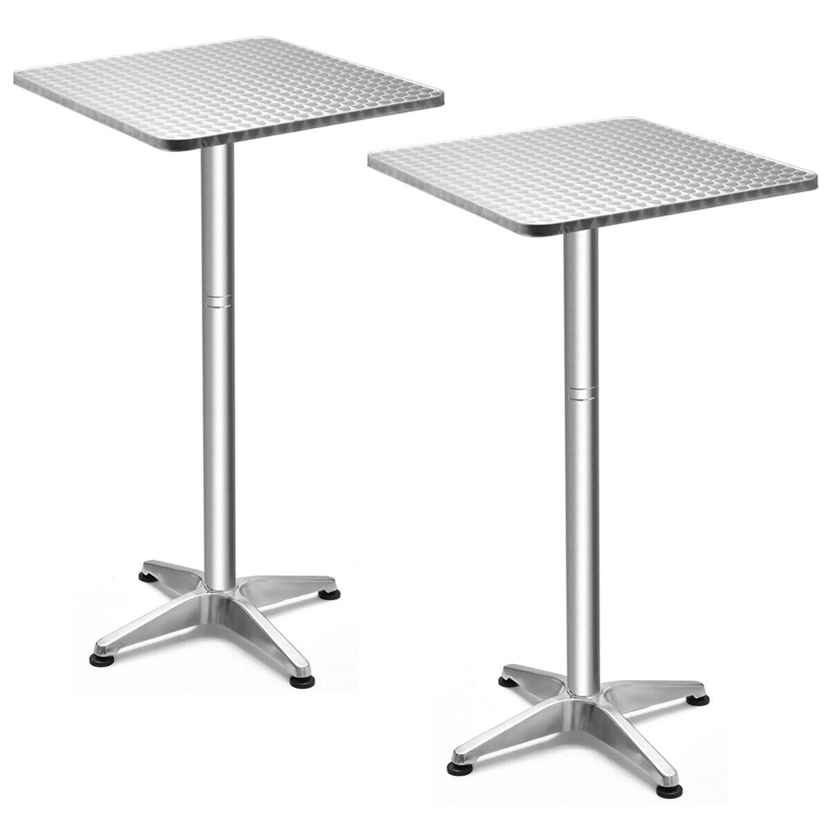 Costway Set Of 2 Folding 23.5'' Aluminium Square Bar Table 2 Height Bistro W/ Base