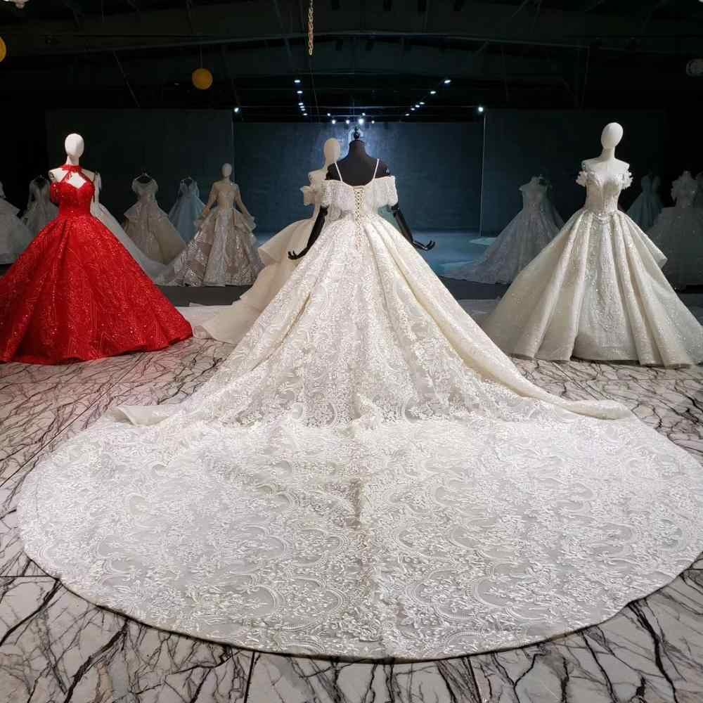 HTL916 תחרה חתונה שמלות עם כלה רעלה מיוחד סירת צוואר כבוי כתף כדור חדש שמלות vestido דה noiva בתוספת גודל