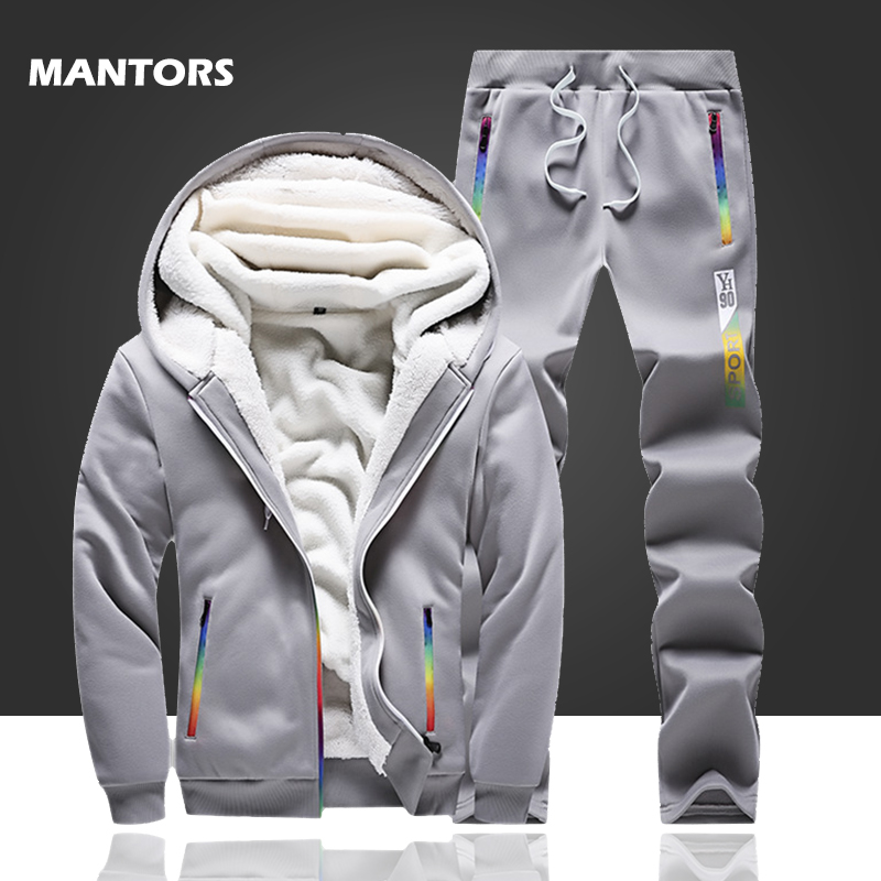 Winter Tracksuits Men Fleece Thick Hoodies Set Casual Sportswear 2019 Mens Clothing Hoodie+Sweatpants Sports Suit 2 Piece Set