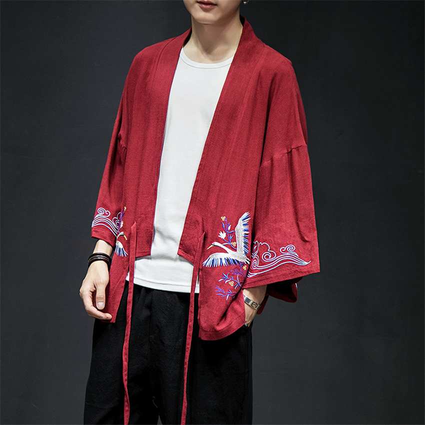 New Mens Japanese Fashion Style Embroidery Haori Asian Clothing Improved Traditional Kimono Long Sleeve Crane Robes M-5XL