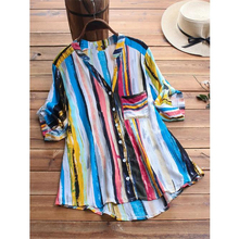 Womens Blouses And Tops New Arrival Striped V Neck