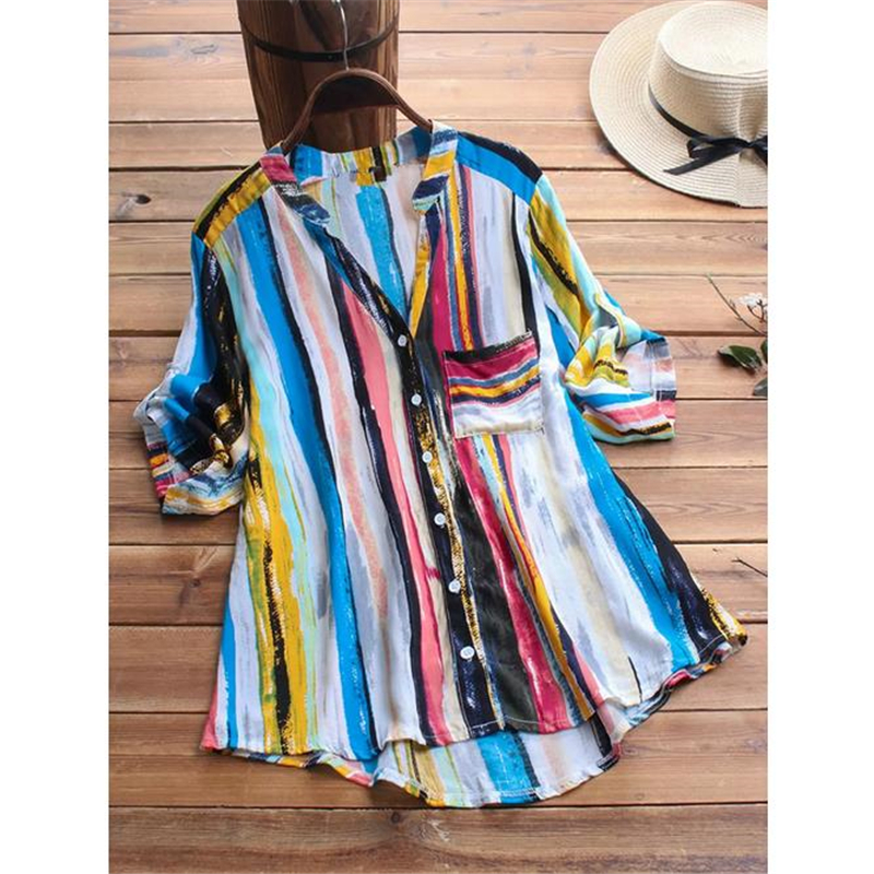 Womens Blouses And Tops New Arrival Striped V Neck Blouses Loose Baggy Tops Women Blouse Tunic Shirt Plus Size Clothes 5XL Shirt