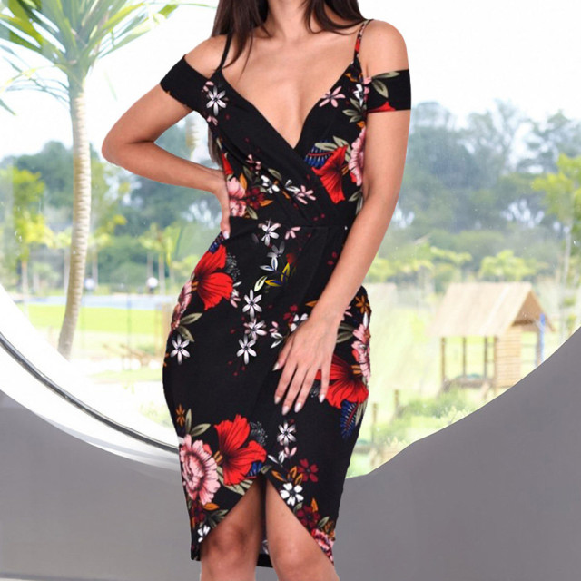 Ladies Fashion Deep V-neck Casual Flower Printed Sling Short Sleeve Slit Dress Retro Floral Front Split Explosion Sexy Dress 02*